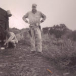 Maj Miller posing with pistol